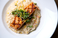 Salmnon and Risotto with fresh watercress
