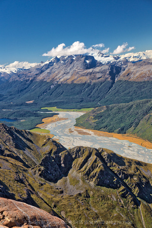 Mt. Earnslaw, Mt. Aspiring and the Dart River