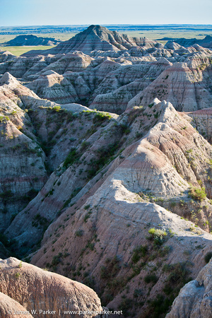 Eroded formations near lookout on Badlands Scenic Drive